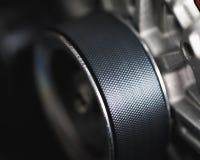 Belt drive of car alternator. Close-up view royalty free stock photo