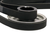 Belt drive. A mechanism in which power is transmitted by a continuous flexible belt Stock Photo
