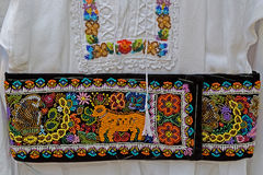 Belt and embroidery at one old traditional Romanian folk costume Stock Photography