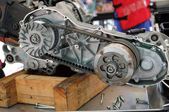 Belt engine remove the engine assembly kit motorcycle. Royalty Free Stock Photo
