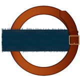 Belt and fabric. Belt with a metal plate and a piece of a jeans fabric on a white background Stock Photo