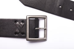 Belt with a fastener isolated. Black belt with a fastener isolated on a white background stock photos