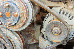 Belt of the generator and an old car generator Royalty Free Stock Images
