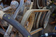 Belt of the generator and an old car generator Stock Photography