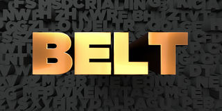 Belt - Gold text on black background - 3D rendered royalty free stock picture Royalty Free Stock Photography