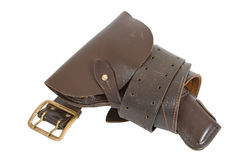 Belt and holster. On white background Stock Photos