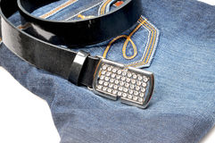 Belt on jean Stock Photos