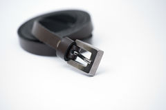 Belt. Leather brown buckle clasp Royalty Free Stock Photos