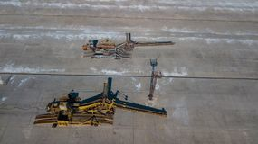 Belt loaders at the industrial enterprise aerial photography royalty free stock photography