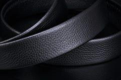 Belt. Male belt close-up isolated on black background royalty free stock photos