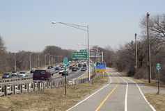 Belt Parkway with bicycle and pedestrian path Stock Photo