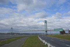 Belt Parkway with bicycle and pedestrian path or Greenway near Verrazano Bridge in Brooklyn Stock Photos