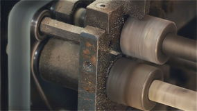 Belt and rollers to move the printing press stock footage
