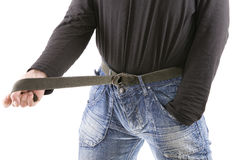 Belt-tightening Royalty Free Stock Photo