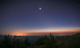 Belt of Venus during sunrise in mountains Royalty Free Stock Image