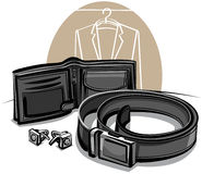 Belt, wallet and cuff links Royalty Free Stock Images