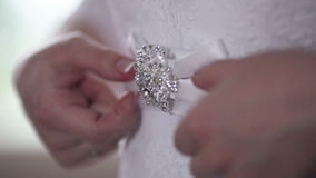 Belt of wedding dress stock video
