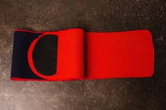 Belt for weight loss on a dark marble background. Relieve weight royalty free stock photography