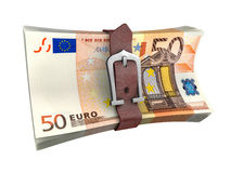 Belted stack of euro money banknotes Stock Photography