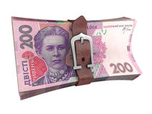 Belted stack of ukrainian money banknotes Royalty Free Stock Image
