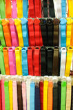 Belts. A display of various colorful belts Stock Image