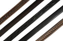 Belts. Five belts isolated on white Royalty Free Stock Image