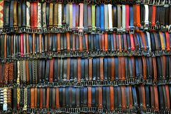 Belts. Leather belts with various colors on sale in an Italian market in Florence.Famous leather industry in Florence, Italy royalty free stock photography