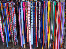 Belts. Rack full of colorful belts Royalty Free Stock Photo