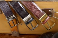BELTS. TREE KINDS OF LUXURY BELTS Royalty Free Stock Photography