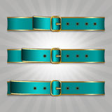 Belts with buckle. Illustration of slimming process Royalty Free Stock Images