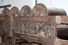Belts and gears on machinery in an old cotton processing factory