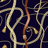 Belts and gold chain luxury seamless pattern. Belts and gold chain check seamless pattern. Luxury background for textile prints, silk shawls, greeting wrappings royalty free illustration