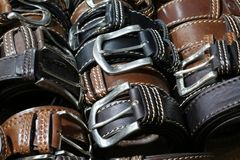 Belts of leather for sale in the italian store. Many belts of leather for sale in the italian store in Florence Stock Photo