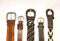Belts. Leather belts on white background Stock Images