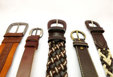 Belts. Leather belts on white background Stock Photography