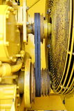 Belts and pulleys. Yellow engine transmission from wedge belts and pulleys Stock Images