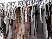 Belts in sailing ship. Belts with rope in old sailing ship stock photo