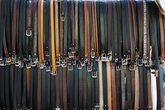 Belts for sale Stock Image