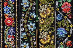 Belts for women embroidered traditional with Romanian patterns Royalty Free Stock Image