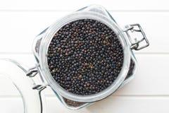 Beluga. Black lentil. Stock Photography