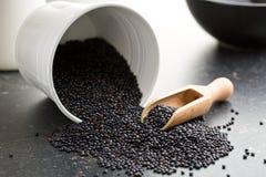 Beluga. Black lentil. Royalty Free Stock Image