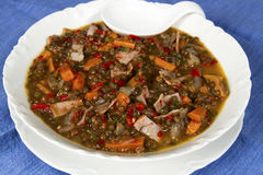 Beluga Lentil Soup with Ham and Red Peppers Royalty Free Stock Photos