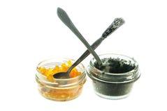 Beluga and salmon caviar Stock Images