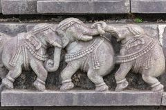 Plinth of three fighting elephants at Chennakeshava Temple in Belur, India. Belur, Karnataka, India - November 2, 2013: Chennakeshava Temple building. Stone royalty free stock photo