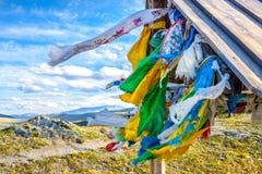 Belvédère avec les drapeaux colorés Photo libre de droits