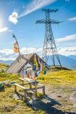 Belvédère avec les drapeaux colorés Photographie stock