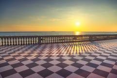 Belvédère de terrasse de Mascagni Terrazza au coucher du soleil Livourne Toscane I photos libres de droits