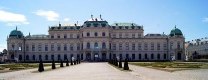 Belveder panorama. Belvedere in vienna - morning springtime Stock Photo