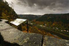 Belveder wiew. Autumn in the Elbe Valley from Belveder view Stock Image