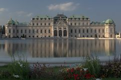 Belvedere. A panoramic view of the Belvedere palace in Vienna Royalty Free Stock Photography